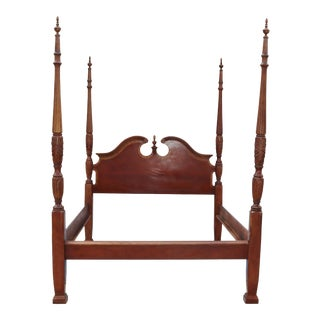 1970s Carved Mahogany Queen Size Poster Bedframe For Sale