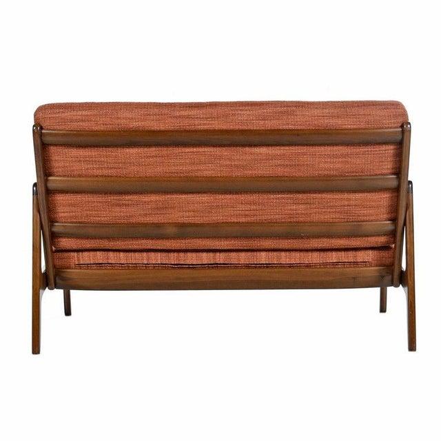 Wood Danish Loveseat Settee Sofa by Ole Wanscher for France & Daverkosen For Sale - Image 7 of 9