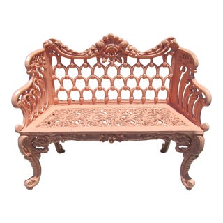 Vintage Cast Iron Garden Bench For Sale