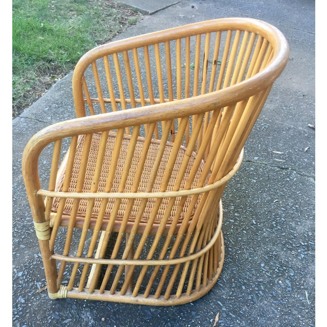Vintage Rattan Barrel Chair - Image 8 of 11