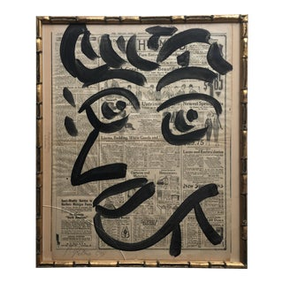 Original Peter Keil Abstract Painting on Chicago Sunday Tribune Framed For Sale