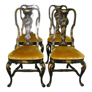 Chinoiserie Queen Anne Style Chairs - Set of 4