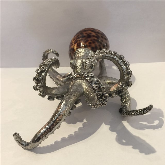 Nautical Vintage Metal & Shell Octopus Sculpture For Sale - Image 3 of 10