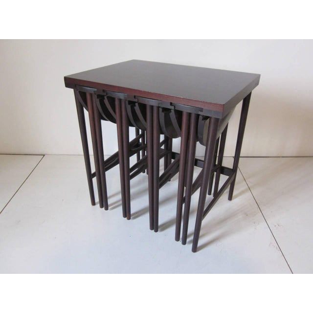 Wood Bertha Schaefer Nesting Tables by Singer and Sons - set of 4 For Sale - Image 7 of 7