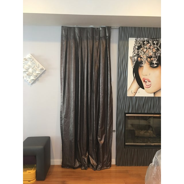 Gorgeous custom made drapes using high quality fabric. Each drape has black lining, resulting in full blackout when drawn...