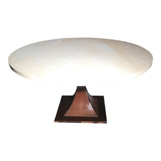 Modern Marble Wood Round Side Table