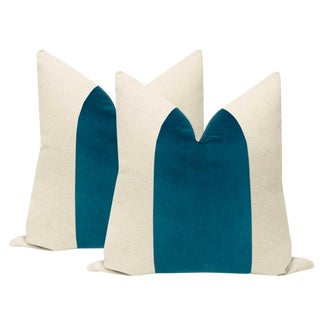 "22"" Baltic Blue Velvet Panel & Linen Pillows - a Pair"