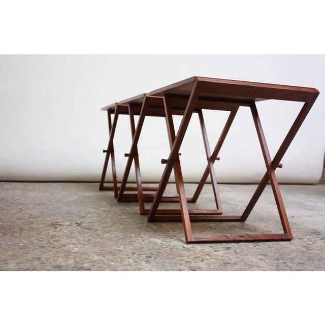 Nest of Three Teak Folding Tables by Illum Wikkelsø - Image 10 of 13