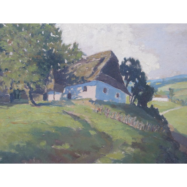 Jan Honsa Vintage Early 20th Century Czech Republic Landscape Signed Original Oil For Sale - Image 4 of 7