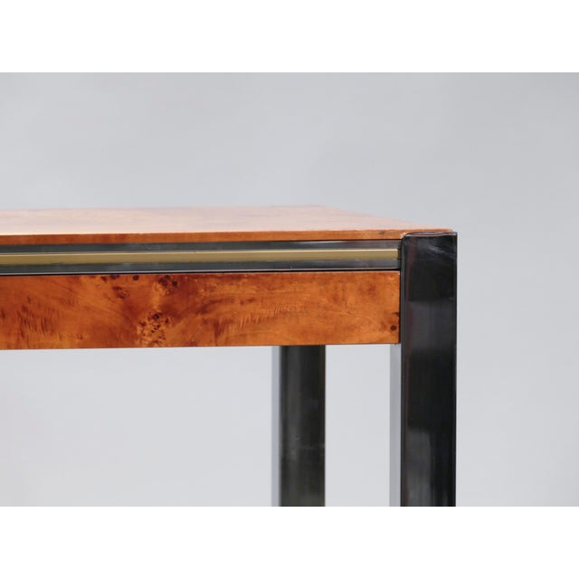 Willy Rizzo Burl Chrome Brass Dining Table, 1970s For Sale - Image 6 of 11