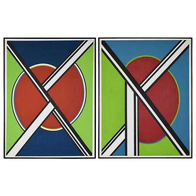 early 20th Century Mondrian Style Geometric Acrylic Painting For Sale