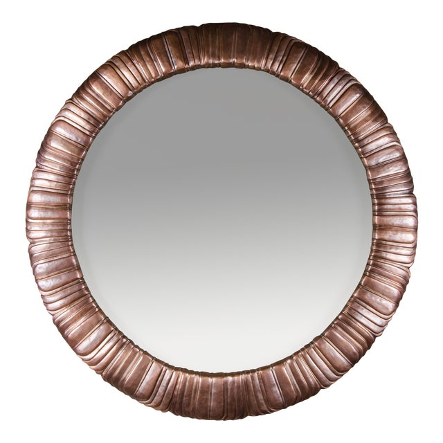 Feather Design Round Mirror - Antique Copper For Sale