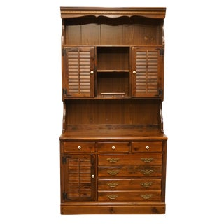 20th Century Early American Ethan Allen Pine Old Tavern CRP Shutter Door Chest With Bookcase Hutch For Sale