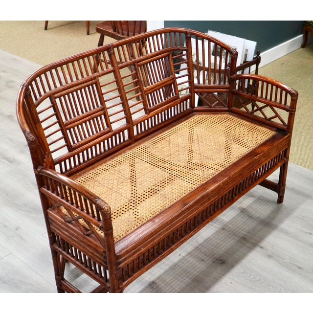 Vintage Bamboo & Cane Settee - Image 2 of 5