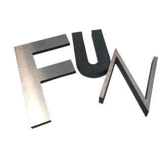 "Vintage ""Fun"" Metal Letters - Set of 3 For Sale"