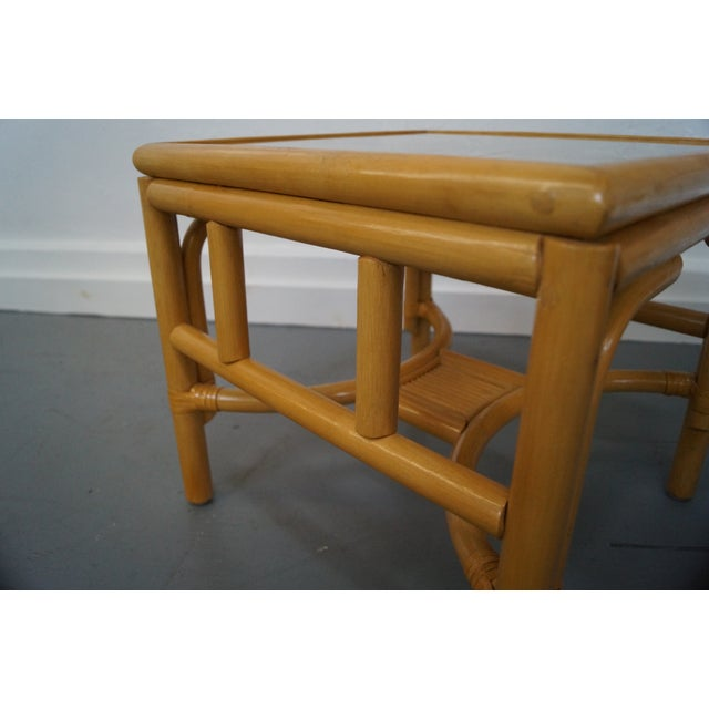 Rattan Bamboo Square Glass Top Low Tables - Pair For Sale - Image 7 of 9