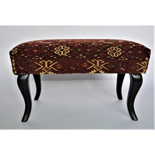 Neoclassical Antique 19th Century Rug Covered Bench For Sale - Image 3 of 10