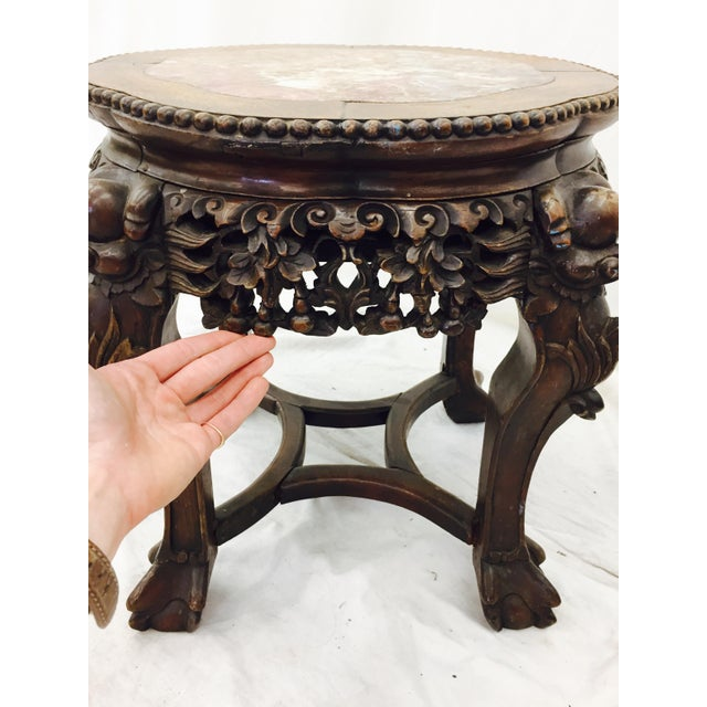 Chinese Carved Rosewood & Marble Table - Image 11 of 11