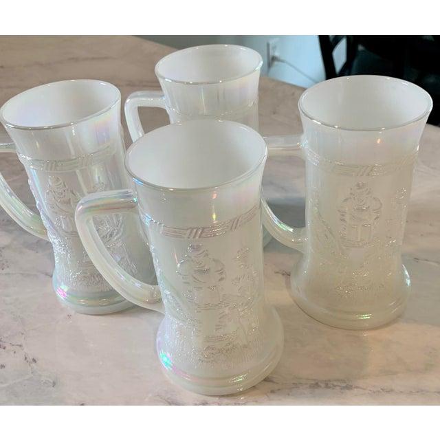 White Mid-Century Fenton Federal Iridescent White Carnival Glass Tavern Scene Stein/Mug - Set of 4 For Sale - Image 8 of 9