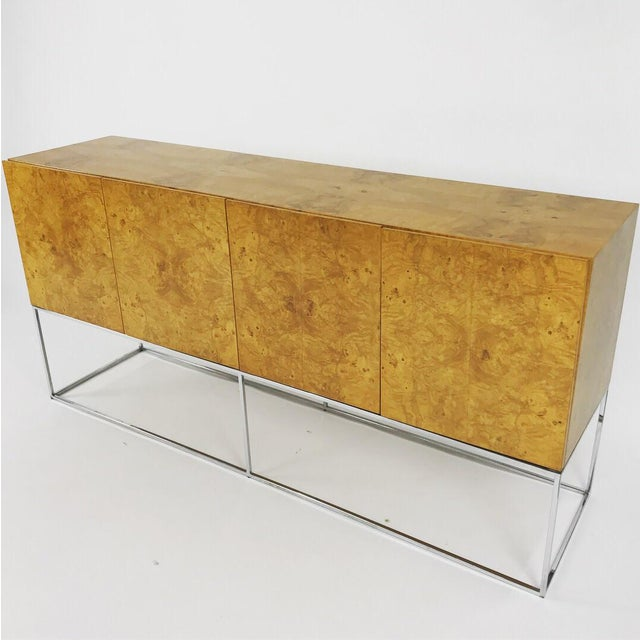 Olive Burl Credenza With Chrome Base Designed by Milo Baughman for Thayer Coggin For Sale - Image 13 of 13