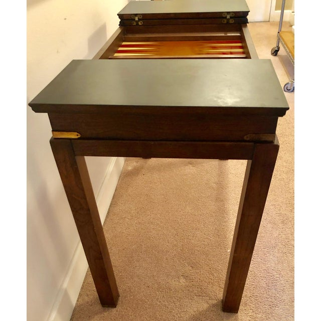 1970s Lane Mid-Century Backgammon Campaign Console Table For Sale - Image 5 of 13