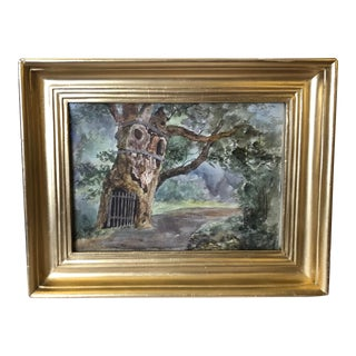 1891 Impressionist English Landscape Watercolor Painting, Framed For Sale