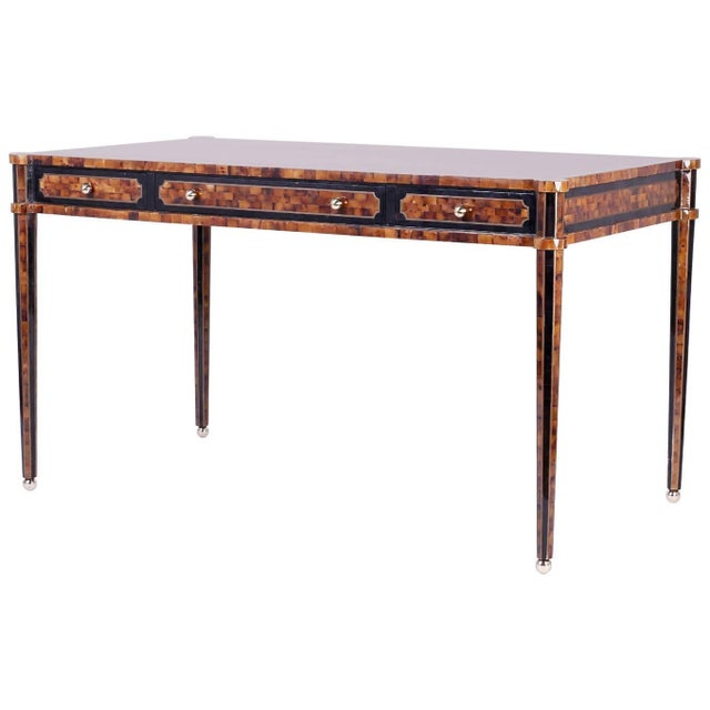 Chic Midcentury Pen Shell Three-Drawer Desk or Writing Table For Sale - Image 10 of 10