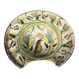 Spanish Faience Shaving Bowl For Sale