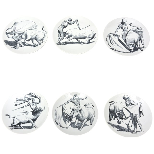 1950s Piero Fornasetti Porcelain Bullfight Plates - Set of 6 For Sale - Image 11 of 11