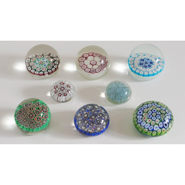Collection of eight Murano glass paperweights in Millefiori technique. Made in Italy in the 1960's. Price listed is for...