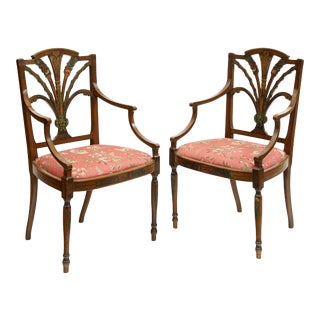 George III Angelica Kauffman Style Polychrome Decorated Armchairs - a Pair For Sale