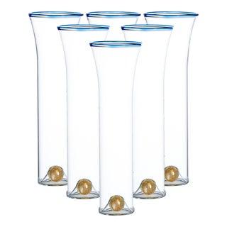 Golden Globe Champagne Set, Blue Trim, Set of 6 For Sale