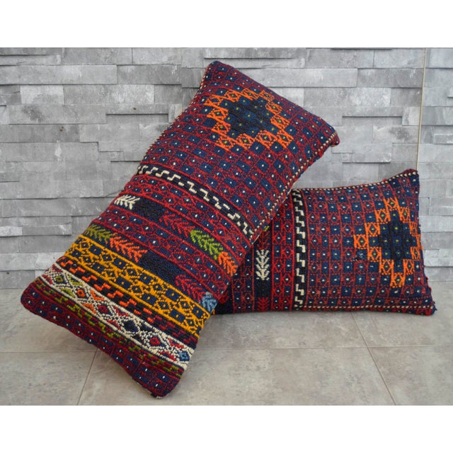 "1960s A Pair Vintage Turkish Kilim Lumbar Pillow Covers - 13"" X 24"" For Sale - Image 5 of 5"