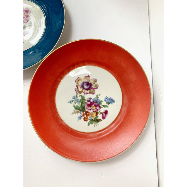 Mid 20th Century Vintage Richard Ginori Italy, Multicolored Porcelain Salad / Dessert Plates, Flower Patterns , Set of 5 For Sale - Image 5 of 13