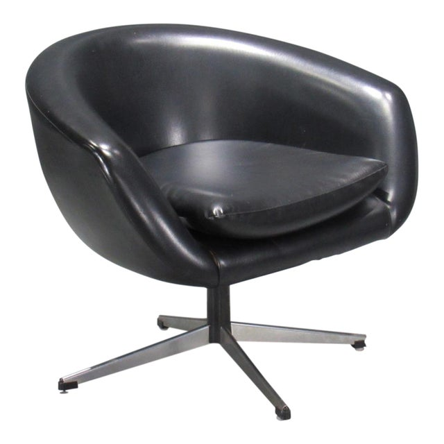 Black Swivel Pod Chair by Overman For Sale