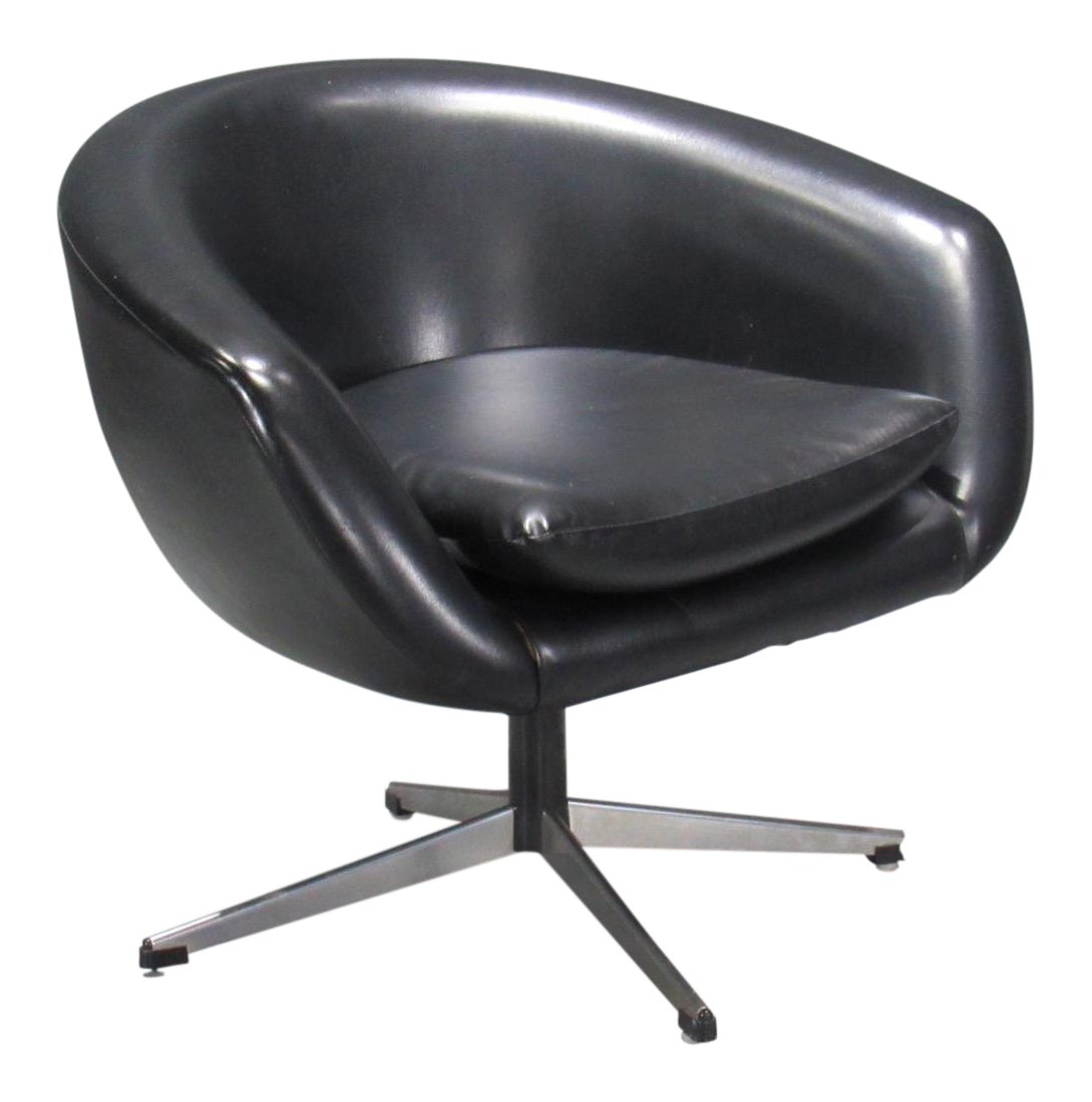 Ordinaire Black Swivel Pod Chair By Overman