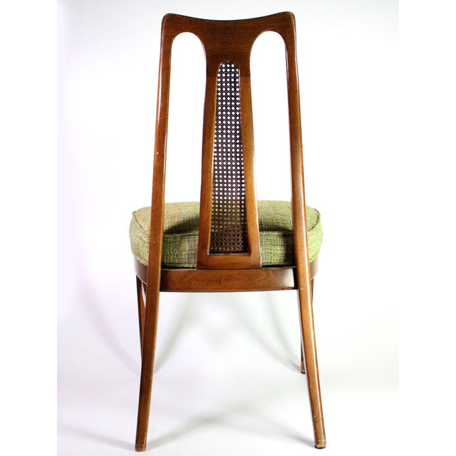 Baker Furniture Company Baker Walnut Mid Century Modern Cane Backed Dining Chairs - Set of 6 For Sale - Image 4 of 12