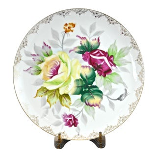Hand-Painted Rose Porcelain Plate & Stand For Sale