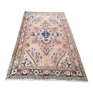 Turkish Tribal Handmade Medallion Vintage Rug- 4′ × 6′10″ For Sale