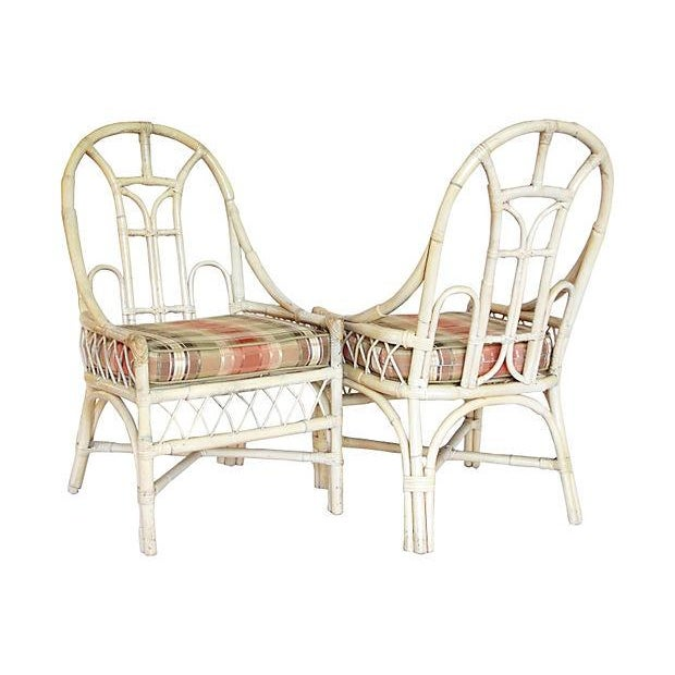 White Rattan Arch Back Chairs - Set of 4 - Image 2 of 5