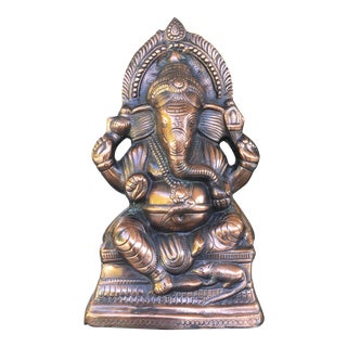 Vintage Bohemian Cast Copper Hindu Ganesha Statue