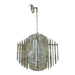 Contemporary Tiered Glass & Chrome Chandelier by Luminaire 1980s For Sale