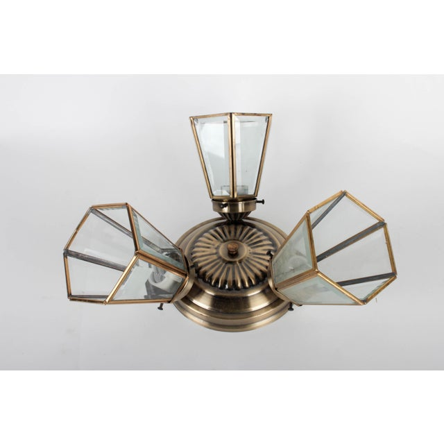 Pair of 3-Lamp Brass Ceiling Fixtures With Glass Shades For Sale - Image 4 of 7