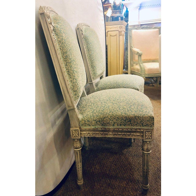 Pair of 19th-20th Century Paint Decorated Louis XVI Style Swedish Side Chairs For Sale - Image 4 of 13