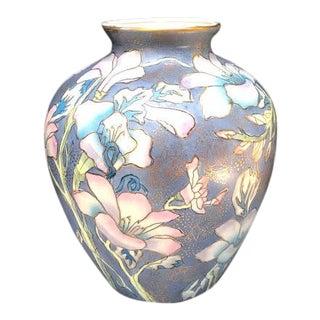 1960s Periwinkle/Lavender Floral Ceramic Asian Vase For Sale