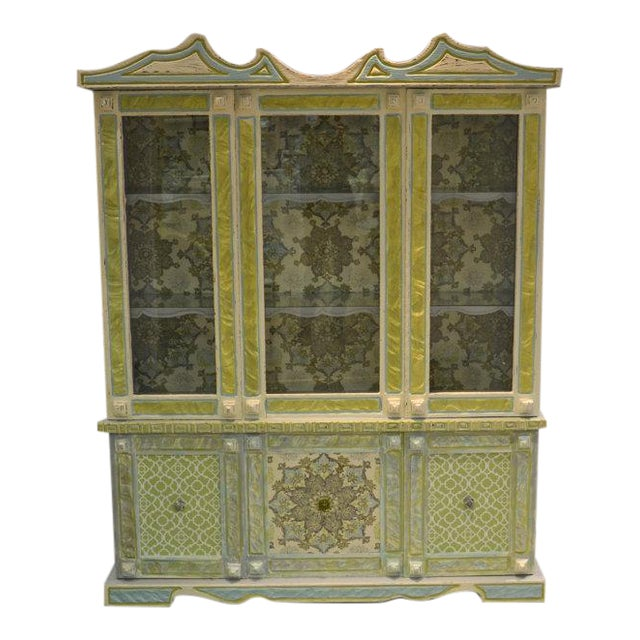 Painted & Wallpapered China Cabinet - Image 1 of 5