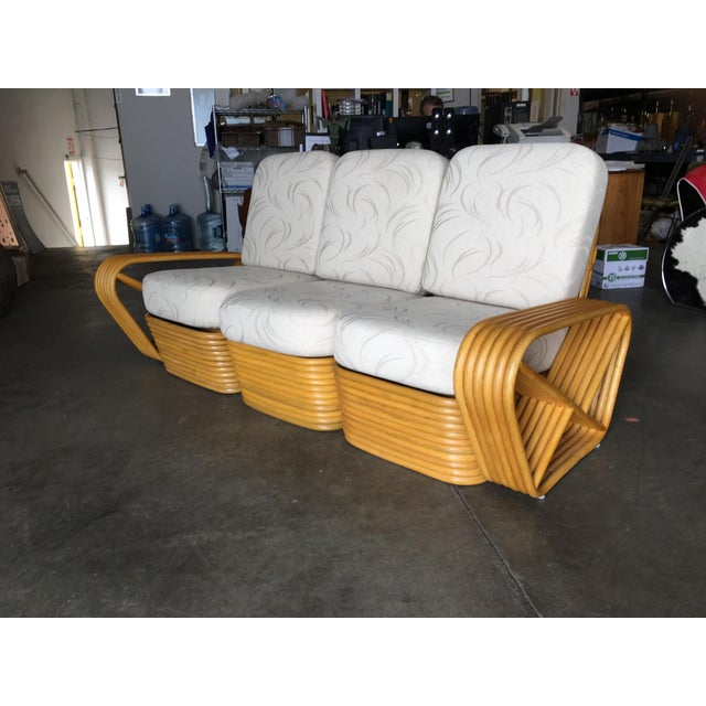 Paul Frankl Restored Six-Strand Rattan Sofa and Lounge Chair Set - 2 Pc. For Sale - Image 4 of 11