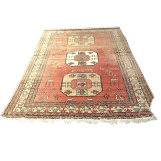 Vintage Persian Area Rug Center Medallions Animal Symbol Rug - 8′9″ × 12′2″ For Sale