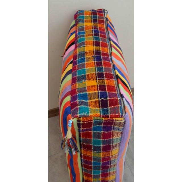Turkish Hand Woven Kilim Floor Cushion - 30″ X 30″ - Image 9 of 10