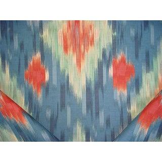 Moroccan Lee Jofa Ferghana Chevron Ikat Print Saxe Blue Upholstery Fabric - 17-3/4y For Sale